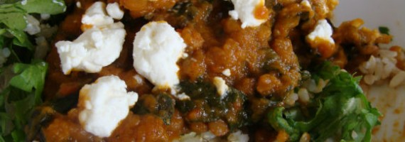 Doppelbock Butternut Squash Stew with Lentils and Swiss Chard