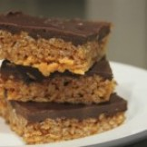 Chocolate & Porter Topped Malt Peanut Butter Krispy Bars