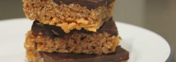 Chocolate & Porter Topped Malt Peanut Butter Krispy Bars