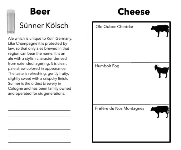 Menu kolsch cheese